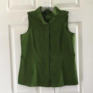 Talbots Deep Green Sleeveless Button Front Shirt